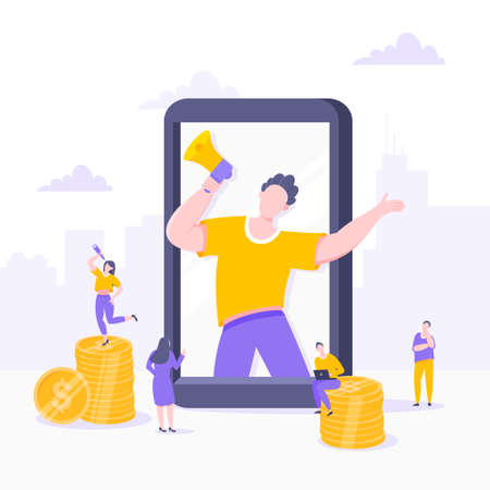 Refer a friend flat style design vector illustration business concept. Man with megaphone stands in the smartphone and shout out to the people.