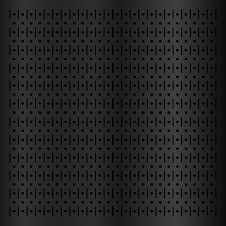 Black metallic peg board perforated texture background material with round holes pattern board vector illustration. Wall structure for working tools.