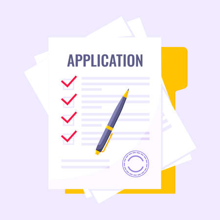 Submit application document form flat style design icon sign vector illustration isolated on white background. Complete application or survey document business concept with text contract stamp.