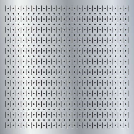 Metallic peg board perforated texture background material with round holes pattern board vector illustration. Wall structure for working tools. 向量圖像