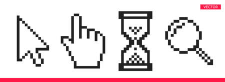 Black and white arrow, hand, magnifierand hourglass pixel mouse cursor icons vector illustration set flat style design isolated on white background.