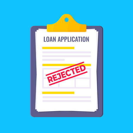 Rejected loan application form with clipboard and claim form on it, paper sheets isolated on light blue background flat style vector illustration. Concept of fill out or online loan application.