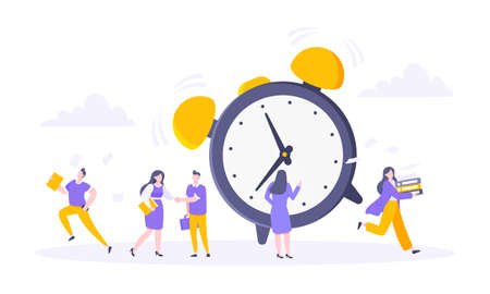 Good working time or effective time management business concept. Analog alarm clock rings and people hurry up to work or education exam vector illustration. Quick reaction awakening and deadline.