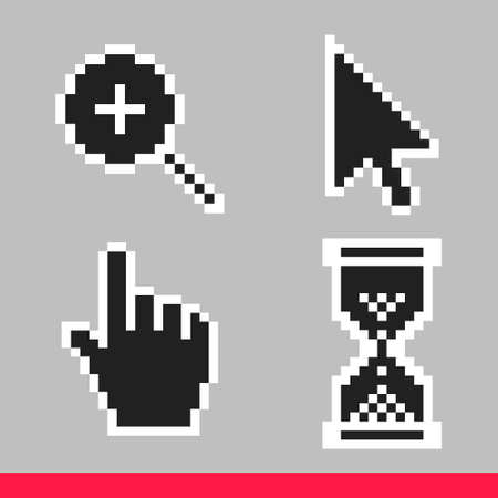 Black and white arrow, hand, magnifier and hourglass pixel mouse cursor icons vector illustration set flat style design isolated on white background.