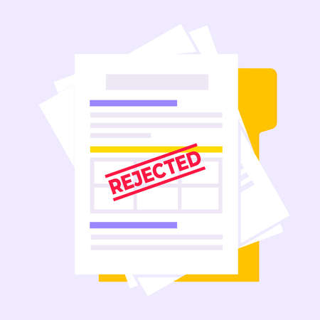 Rejected credit or loan form with file and claim form on it, paper sheets isolated on background flat style vector illustration. Concept of fill out or online credit application form.
