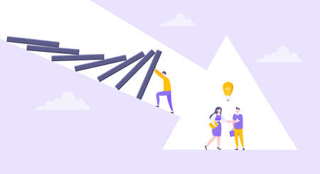 Domino effect or business resilience metaphor vector illustration. Adult young man pushing falling domino line and business people shaking hands concept of problem solving.