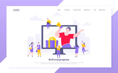 Refer a friend flat style design vector illustration business concept. Man with megaphone stands in the pc monitor and shout out to the people web template.