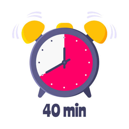 Forrty minutes on analog clock face flat style design vector illustration icon sign isolated on white background. Analogue wall clock 40 minutes time management business concept.