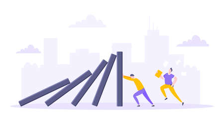 Domino effect or business resilience metaphor vector illustration. Adult young man pushing falling domino line business concept of problem solving. Vetores