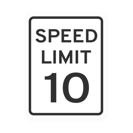 Speed limit 10 road traffic icon sign flat style design vector illustration isolated on white background. Vertical standard road sign with text and number 10.