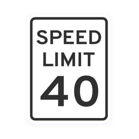 Speed limit 40 road traffic icon sign flat style design vector illustration isolated on white background. Vertical standard road sign with text and number 40.