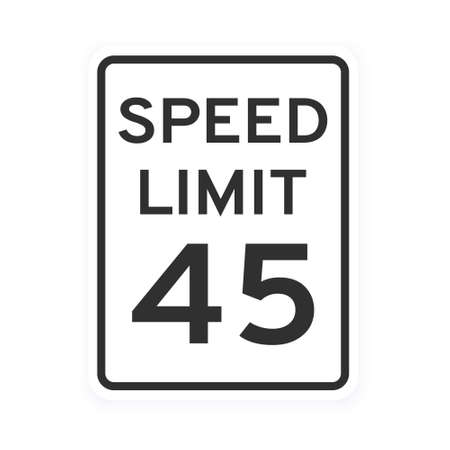 Speed limit 45 road traffic icon sign flat style design vector illustration isolated on white background. Vertical standard road sign with text and number 45.