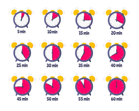 Minutes countdown on analog clock face flat style design vector illustration icon sign set isolated on white background. Analogue wall clock minutes time management business concept. Vektoros illusztráció