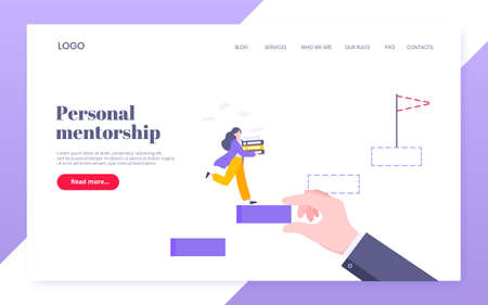 Business mentor helps to improve career and holding stairs steps vector illustration. Mentorship, upskills and self development strategy flat style design business landing page concept.