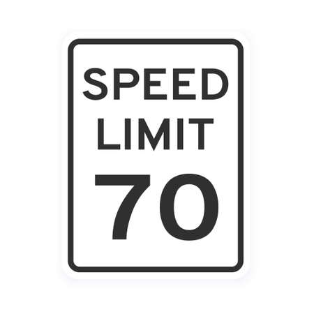 Speed limit 70 road traffic icon sign flat style design vector illustration isolated on white background. Vertical standard road sign with text and number 70.