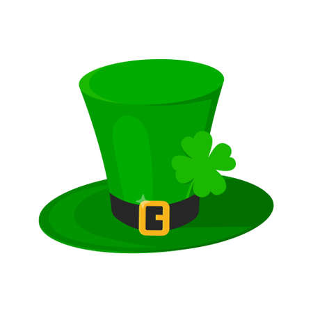 Saint Patrick Day leprechaun green hat with shamrock clover four leaf lucky icon flat style design vector illustration isolated on white background. 向量圖像