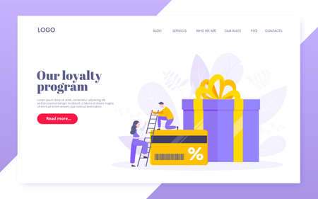 Get loyalty card and customer service business concept flat design vector illustration. Earn loyalty program points and get online reward and gifts. Tiny people with big card and gift box. 向量圖像