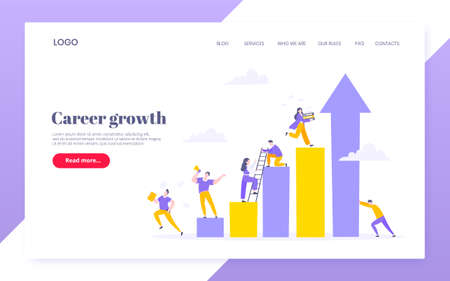Career climbing and supporting with giving a helping hand business concept flat style design vector illustration. Collective teamwork and partnership or mentoring metaphor.