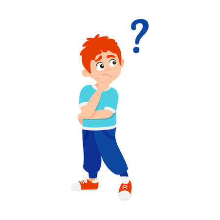 Little boy kid asking question flat style design vector illustration isolated io white background. Cute boy thinking about something and question mark flies above him asking concept.