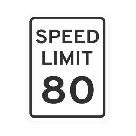 Speed limit 80 road traffic icon sign flat style design vector illustration isolated on white background. Vertical standard road sign with text and number 80. 向量圖像