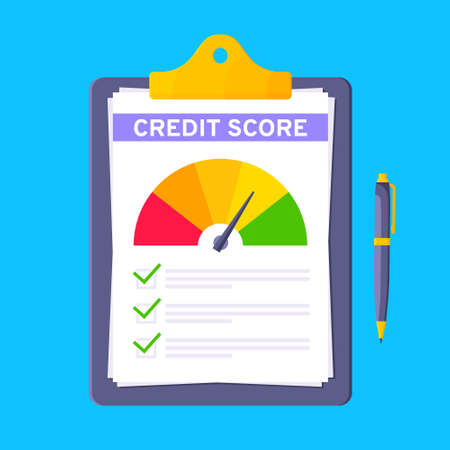 Credit score gauge speedometer indicator with color levels on clipboard. Measurement from poor to excellent rating for credit or mortgage loans flat style design vector illustration.