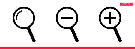 Magnifier icon sign cursor vector illustration set flat style design isolated on white background. Searching or zooming tool symbol magnifying glass icon.