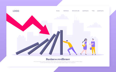 Domino effect or business resilience metaphor vector illustration. Adult young man pushing falling domino line business concept of problem solving website template.
