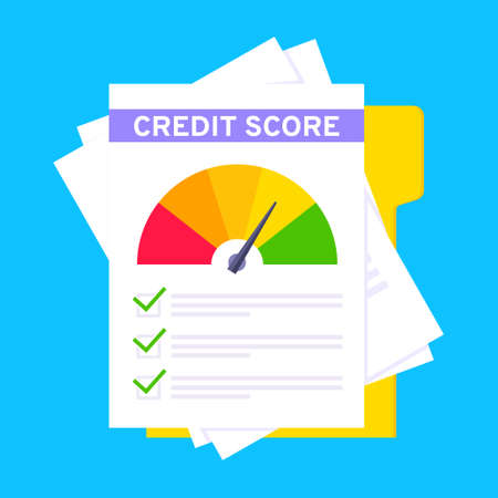 Credit score gauge speedometer indicator with color levels on paper sheets and file. Measurement from poor to excellent rating for credit or mortgage loans flat style design vector illustration.