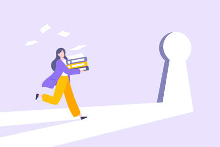 Business key opportunity concept with keyhole and ambitious woman running to career potential and work financial success flat style vector illustration. New way business beginnings and unlock future.