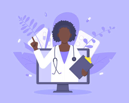 Online doctor medical service concept with doctor in the monitor screen vector illustration. Telemedicine web consultation for patients health care check ups and taking medicine prescription pills.