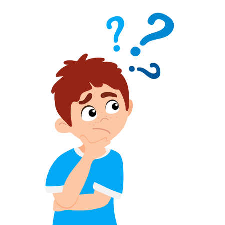 Little boy kid asking question flat style design vector illustration isolated on white background. Cute boy thinking about something and question mark flies above him asking concept.