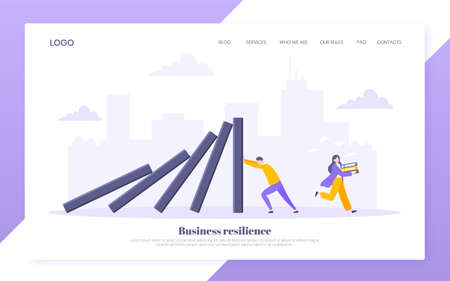 Domino effect or business resilience metaphor vector illustration. Adult young man pushing falling domino line business concept of problem solving website template. 向量圖像