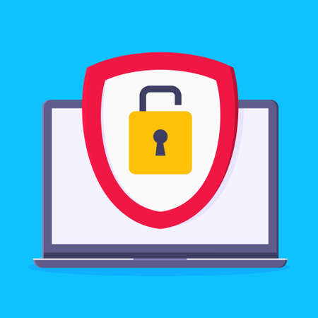 Privacy policy, safety lock and data protection metaphor. Shield with padlock on the laptop screen with personal data security protection symbol flat style design vector illustration.
