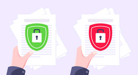 Privacy policy, safety lock and data protection metaphor set. Shield with padlock on the paper with personal data security protection symbol flat style design vector illustration.