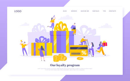 Earn loyalty program points and get online reward and gifts. Get loyalty card and customer service business concept flat design vector illustration. Tiny people with big card and money. 向量圖像