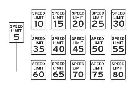 Speed limit road traffic icon signs set flat style design vector illustration isolated on white background. Vertical standard road sign with text and numbers collection.