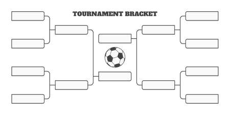 8 soccer team tournament bracket championship template flat style design vector illustration isolated on white background. Championship bracket schedule for soccer, football game spreadsheet.