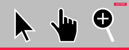 Black and white arrow, hand and magnifier mouse cursor icons vector illustration set flat style design isolated on gray background.