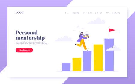 Career ladder climbing and goal achievement business concept flat style design vector illustration. Leader opportunity or career progress metaphor. 向量圖像