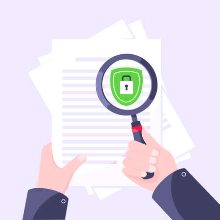 Privacy policy, safety lock and data protection metaphor. Hand hold magnifier shield with padlock on the paper with personal data security protection symbol flat style design vector illustration.