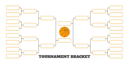 16 team tournament bracket championship template flat style design vector illustration isolated on white background. Championship bracket schedule for basketball game.