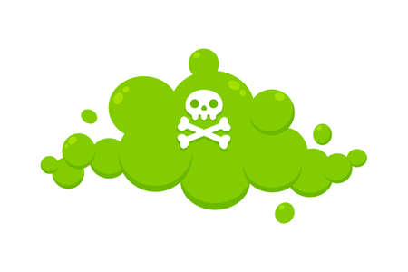 Smelling green cartoon fart cloud flat style design vector illustration with crossbone skull. Bad stink or toxic aroma cartoon smoke cloud isolated on white background.