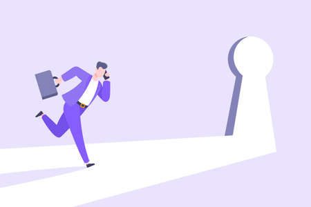 Business key opportunity concept with keyhole and ambitious man running to career potential and work financial success flat style vector illustration. New way business beginnings and unlock future. 向量圖像