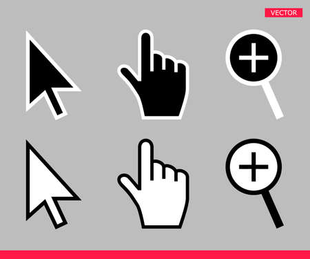 Black and white arrow, hand and magnifier mouse cursor icons vector illustration set flat style design isolated on white background. 向量圖像