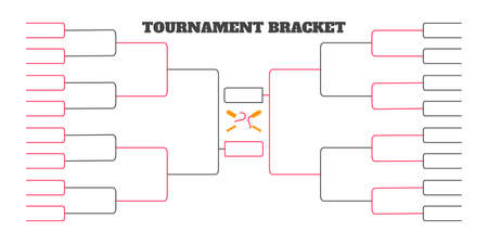 32 team tournament bracket championship template flat style design vector illustration isolated on white background. Championship bracket schedule for baseball game.