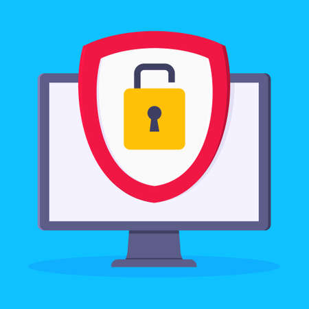 Privacy policy, safety lock and data protection metaphor. Shield with padlock on the computer monitor screen with personal data security protection symbol flat style design vector illustration.