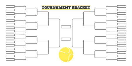 64 team tournament bracket championship template flat style design vector illustration isolated on white background. Championship bracket schedule for tennis game.