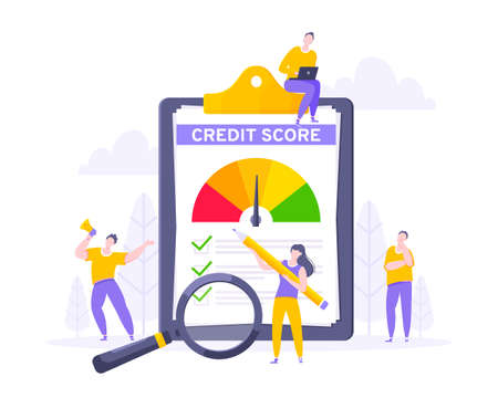 Credit score report with arrow gauge speedometer indicator with color levels on giant clipboard. Measurement from poor to excellent rating with tiny people shaking hands and run vector illustration