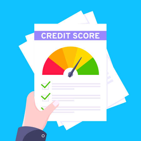 Hand holds credit score gauge speedometer indicator with color levels on paper sheets and file. Measurement from poor to excellent rating for credit or mortgage loans flat style vector illustration. 向量圖像