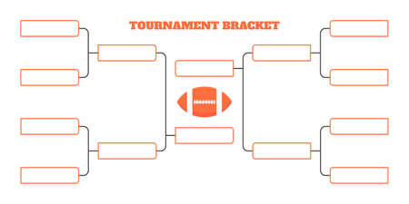 8 american football team tournament bracket championship template flat style design vector illustration isolated on white background. Championship bracket schedule american football game spreadsheet.